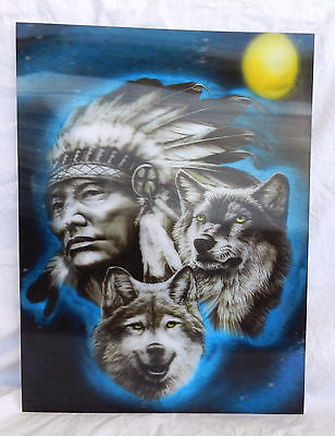 Large 3D Picture of Native American Chief and Wolves / Wolf -