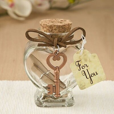 50 Glass Heart Message Jar With Copper Metal Key Accent Wedding Shower Favors