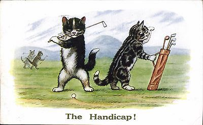 Golf Comic. The Handicap # 2815 by J.Salmon. Two Cats by ? Ellam.