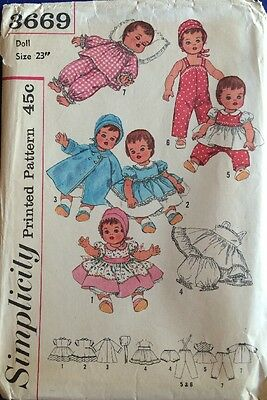 "Vintage Simplicity 3669 Pattern 23"" Baby Doll Betsy Wetsy Tiny Tears"