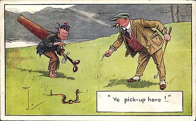 Golf Comic. Ye Pick-Up Here by Chas. Crombie # 2162 by J.Salmon. Snake.