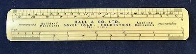 Vintage Plastic Technical Drawing Scale Ruler with advertising logo