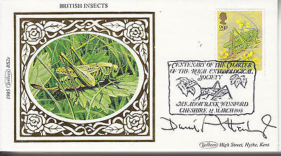 David Attenborough Signed Benham Silk British Insects Cover