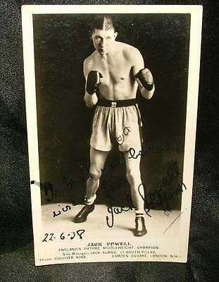 Signed Autographed Boxing Photograph Postcard Jack Powell 1938 - Lot 30