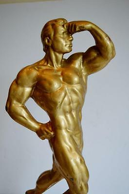 Large Vintage Gilt Metal Weider Body Builder Muscle Male Physique Statue Figure