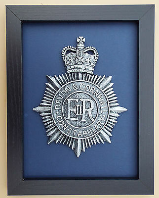 Large Scale Framed Devon and Cornwall Constabulary - Police Badge Plaque