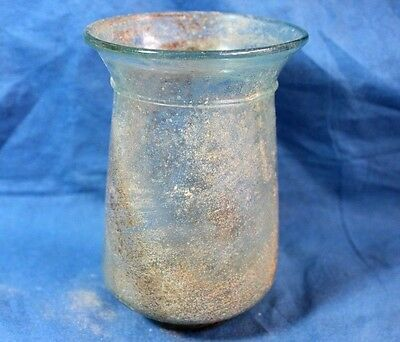 JUDAEA : Ancient Roman Translucent Glass Goblet 4c. AD. Archaeology.