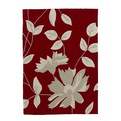 Think Rugs Hong Kong 2085 Hand Tufted Red floral Rug 60 x 120cm