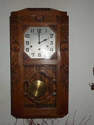 Antique Junghans Hand Carved Westminster Chime Wall Clock