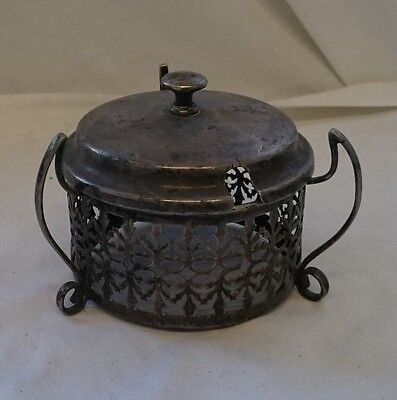 RARE Vintage ORNATE SILVER PLATED MUSTARD Condiment POT DISH COVER w/ LID 9.5cm