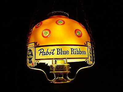 Pabst Blue Ribbon Rotating Hanging Beer lamp chandelier RARE RARE