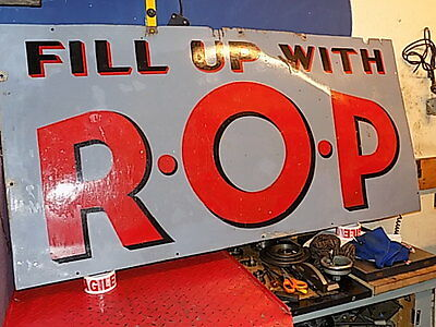 """Rare Large Enamel Sign """"fill Up With Rop"""" Petrol Oil Advertising 60"""" X 29 1/2"""""""