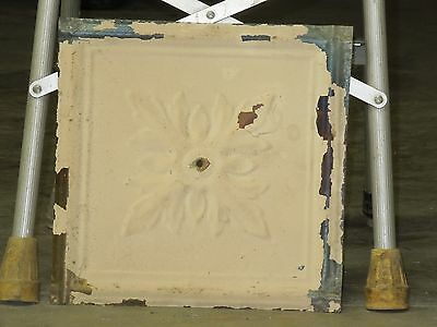 Old Antique ( Metal )  tin ceiling tile  tiles floral 13x13 orig paint