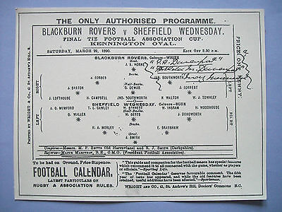 1890 FA Cup final programme Blackburn Rovers v Sheffield Wednesday mint con