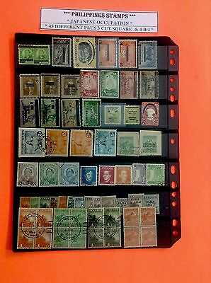 PHILIPPINES STAMP JAPAN JAPANESE Occupation 45 DIFFERENT +  4 B/4 & 3 CT SQUARES