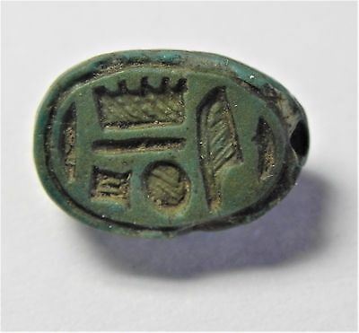 Zurqieh -Af1008- Ancient Egypt , Faience Scarab , New Kingdom. 1400 B.c