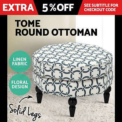 TOME Blanket Box Round Ottoman Linen Fabric Footstool Dressing Bench Seat