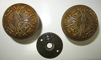 PAIR OF ORNATE LATE VICTORIAN CAST BRONZE DOORKNOBS W MATCHING ROSETTE 1890s