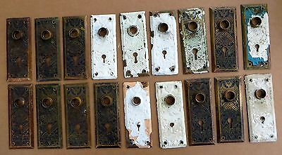 "LOT OF 18 MATCHING CAST BRASS BRANFORD BACKPLATES ""ORIENTAL PATTERN"" c1880s"