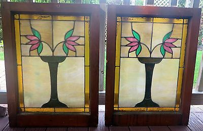 """PAIR FLORAL STAINED GLASS BUNGALOW WINDOWS 22"""" x 29"""" c1910s"""