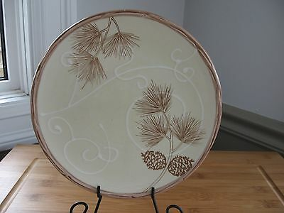 """Hand painted BERRIES & BOUGHS coldwater creek salad plate 8"""" RARE crazing"""