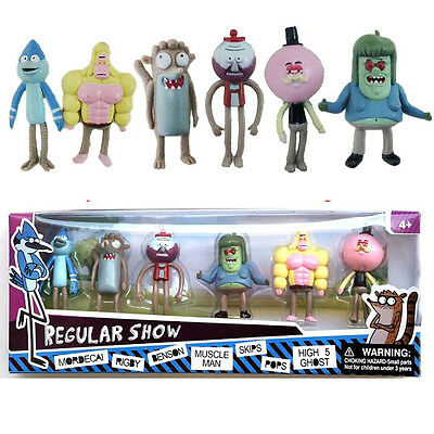 6 Piezas Regular Show 5.1cm Mordecal Rigby Benson Hombre Musculoso Skips