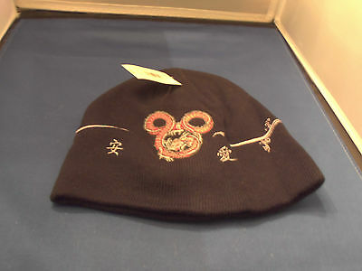 Disney Chinese Dragon Embroidered Mickey Mouse Beanie Cap Hat Adult Teen Size