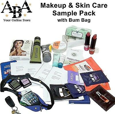 Bulk mixed makeup & skin care sample pack with bum bag