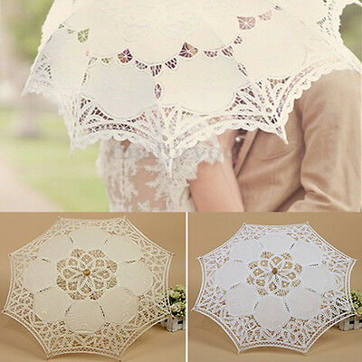 Handmade Vintage Cotton Lace Sun Parasol Bridal Wedding Umbrella Party Decor