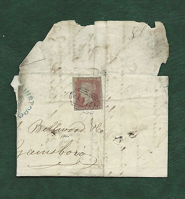 GB 1853 imperf Queen Victoria 1d penny red on large piece Gainsborough