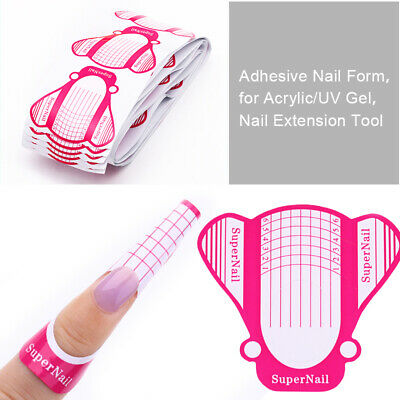 100/500Pcs Adhesive Nail Art Form for Acrylic/UV Gel Extension Tools Widen Plane