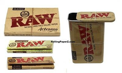 RAW King size Artesano+1 1/4 Classic+Organic Rolling Papers + Slide Storage Tin