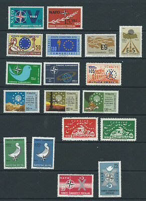 Turkey 9 different mint sets of NATO & Europe related stamps MNH