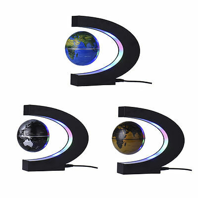 LED GLOBE WORLD MAP Lamp Rotating Magnetic Levitation Floating Globe Light