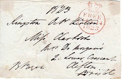 """UK King George 4th 1820-30 """" Member of Parliament Free post front"""", 1823 (12)"""