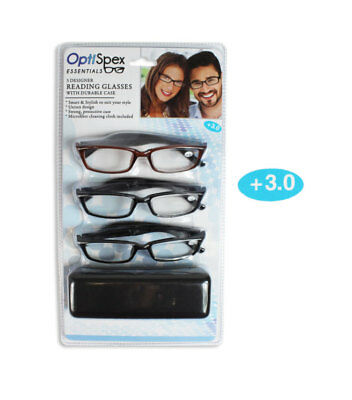 Reading Glasses Pack Of 3 with Case Fashion Design Mens Ladies 5 Strengths
