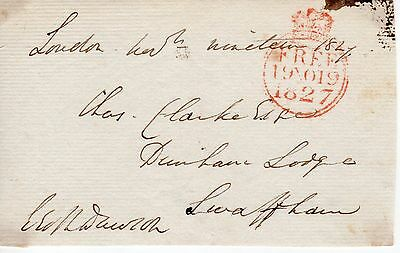 """UK King George 4th 1820-30 """" Member of Parliament Free post front"""", 1827 (34)"""