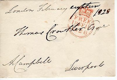 """UK King George 4th 1820-30 """" Member of Parliament Free post front"""", 1828 (41)"""
