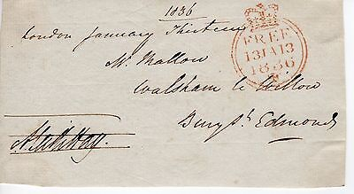 """UK King William 4th 1830-37 """" Member of Parliament Free post front"""", 1836 (58)"""