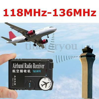 T&L001 118MHz-136MHz AAA Plastic Black Air Band Radio Aviation Band Receiver