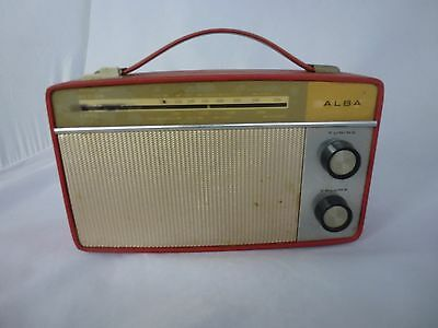 VINTAGE PORTABLE TRANSISTOR RADIO 1960s - ALBA - LW & MW WITH CARRY HANDLE