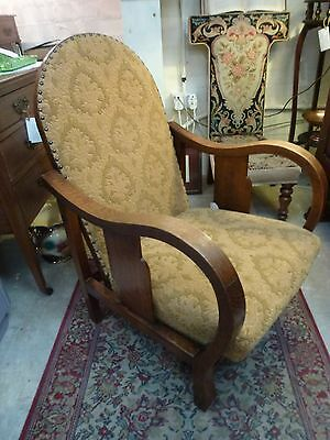 Art Deco Oak Lounge Easy Arm Chair Reclining Oak Frame & Green Damask Upholstery