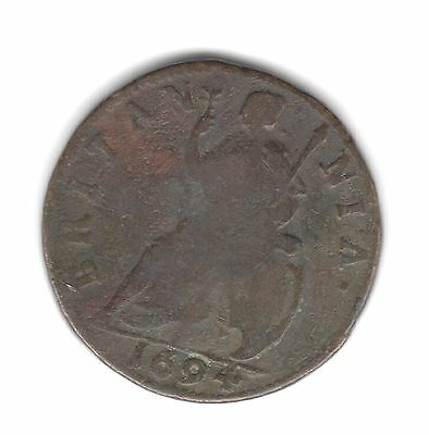 UK King William & Mary, Copper Farthing 1694, Fine (27)