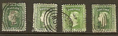1860 to 1872 NSW New South Wales Australia 3d Green QV Diadem x 4 Used