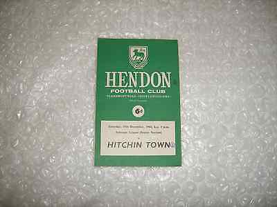 Hendon v Hitchin Town  Saturday 19th December 1964