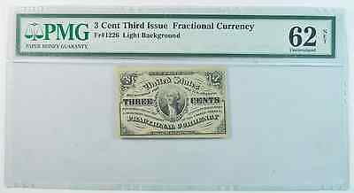 3c Three Cent 3rd Issue Fractional Currency Fr#1226 62 Uncirculated PMG