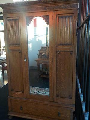 1920s  Solid Carved Oak Double Wardrobe Linen Fold Bevelled Mirror