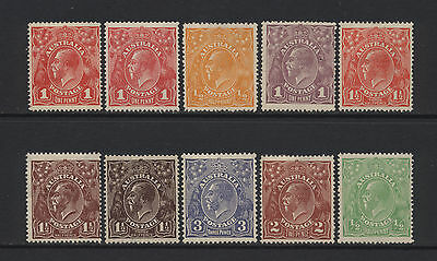 Australia Collection 10 KGV Values Mounted Mint