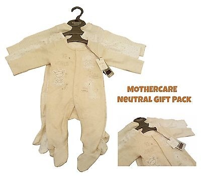 Ex Mother-care 3 Pack Babygrow Sleepsuit Baby Boys 100% Cotton Unisex Neutral