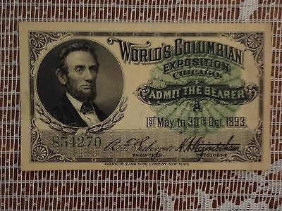 World's Columbian Exposition Chicago 1893 Lincoln fair ticket admit one